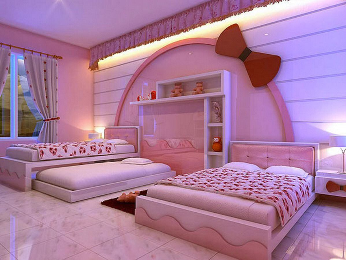 Imagen de http://inovah.com/wp-content/uploads/2014/09/Contemporary-Hello-Kitty-girl-bedroom-design-with-pink-tufted-headboard-bed-and-hello-kitty-head-wall-decoration-and-white-modern-doll-shelves-and-pink-wall-paint-design-ideas.jpg.