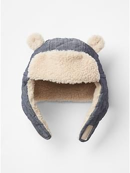 78d8d3878c5 Cozy chambray bear trapper hat