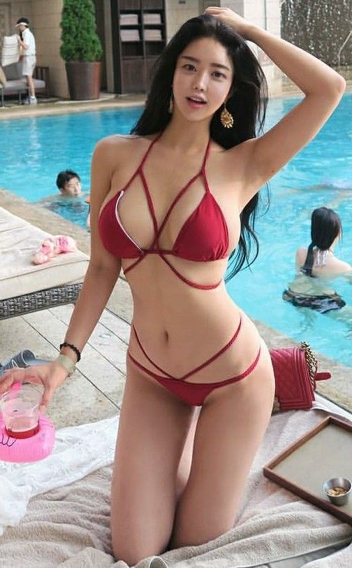 lingerie Chinese girl red