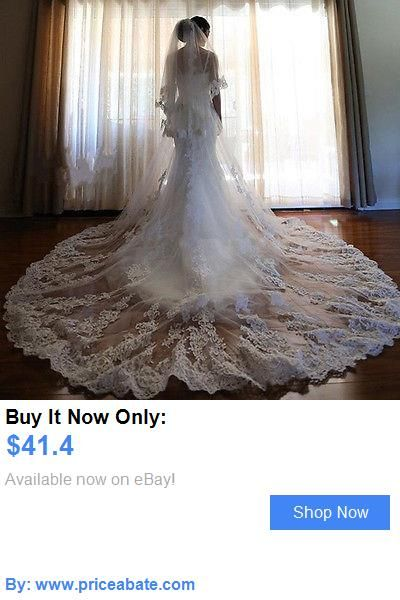Bridal Accessories: Ivory Appliques Long Bridal Wedding Veil Cathedral 2T Lace Edge With Comb Custom BUY IT NOW ONLY: $41.4 #priceabateBridalAccessories OR #priceabate