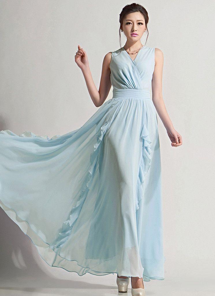 e2a7db0d75 V Neck Light Blue Maxi Dress with Pleated Waist Yoke and Drape Flounce on  Skirt RM618