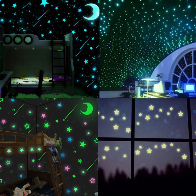 DIY Fluorescent Wall Stickers Stars Luminous Decal 100Pcs Home Decor Kids Room