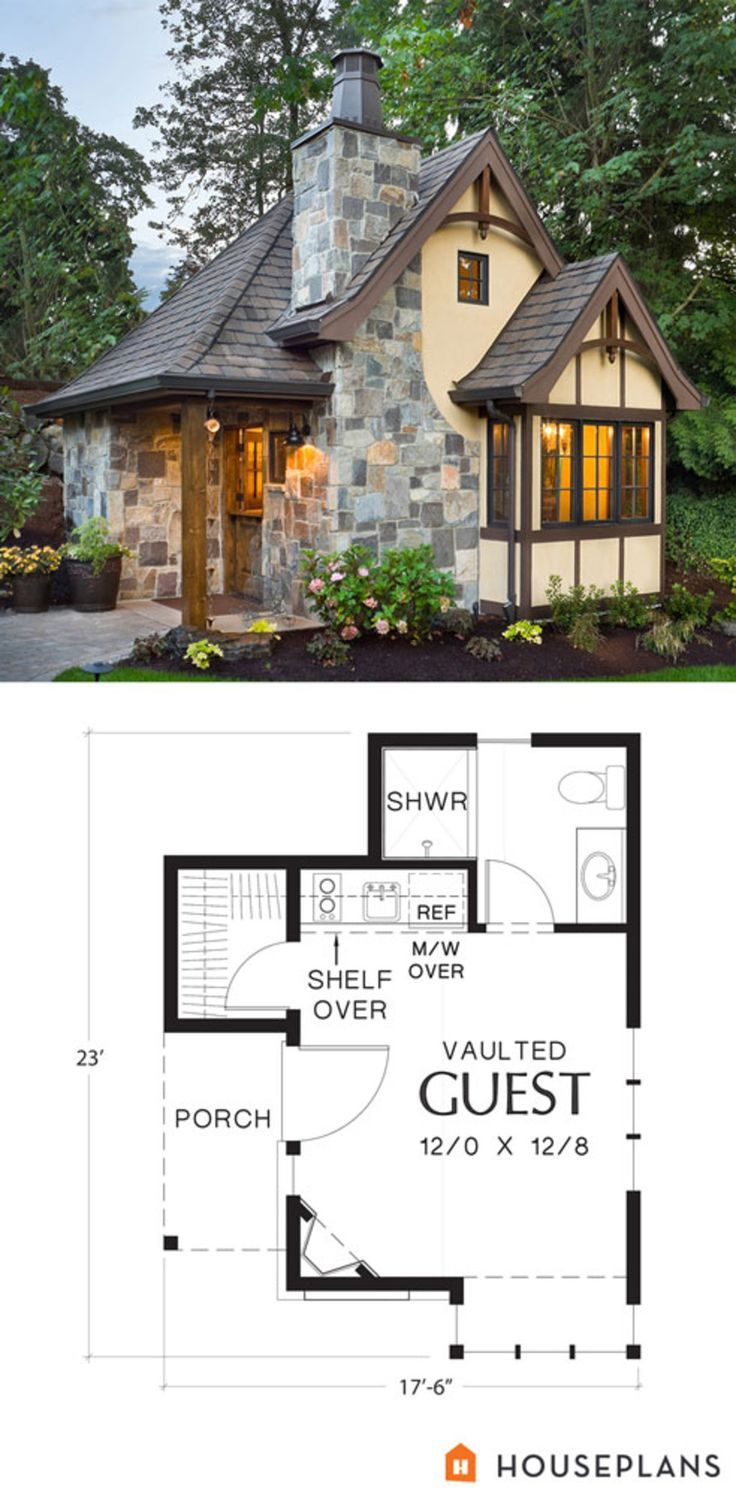 Living Tiny One Day This Would Be It 300 Sq Ft 17 6 23 12 10 1 Full Bath 1 Story Front Exterior Of Masco Storybook House Plan Small House Guest Cottage