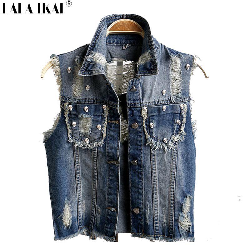 07369d24d0 Niña chaleco de mezclilla remache Vintage Skull tachonado chaleco de Jeans  mujeres Ripped Tassel sin mangas de la chaqueta SWE0035-5(China (Mainland))