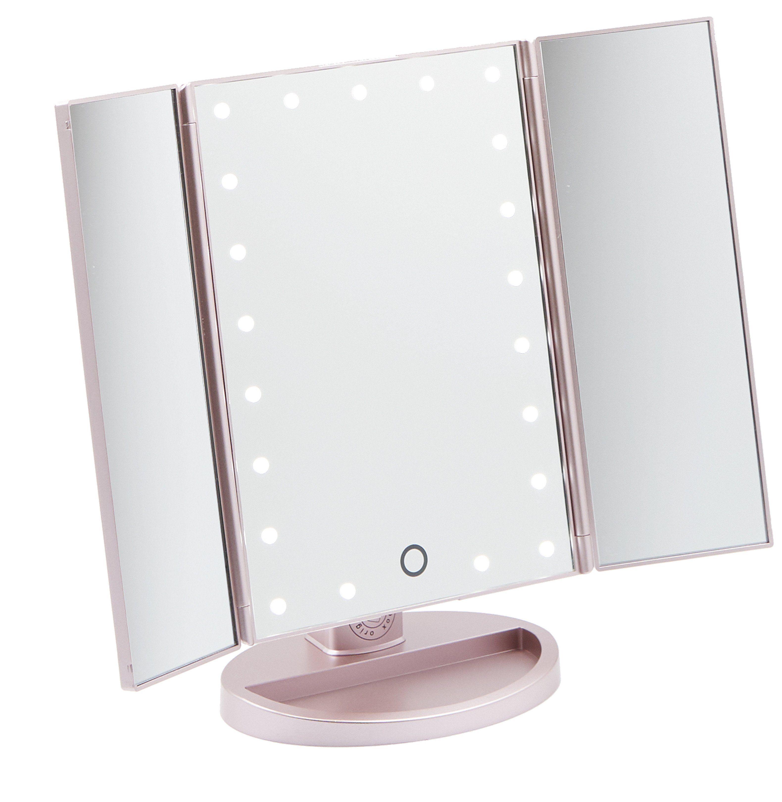 Original Beauty Box Rose Gold Three Way Vanity Mirror