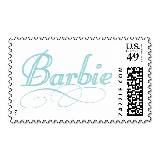 Blue Barbie Logo Postage. This is customizable to put a personal touch on your mail. Add your photos or text to design your own stamp that can be sent through standard U.S. Mail. Just click the image to try it out!