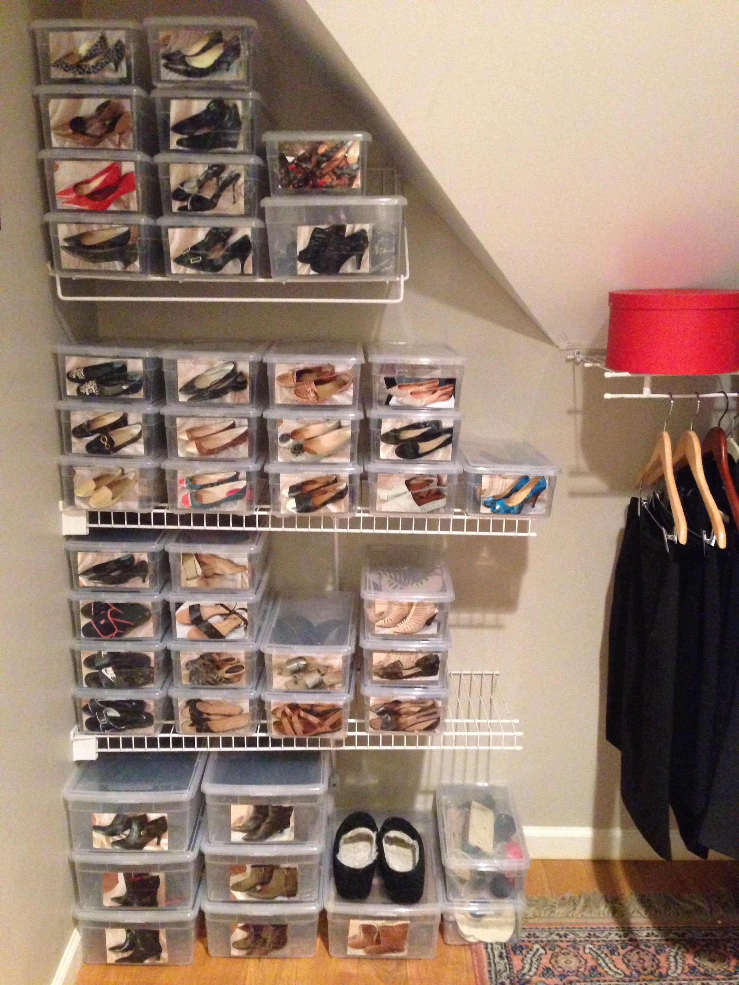 Shoes Organized The Container Store Shoe Boxes W Photos On The