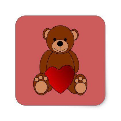 Teddy Love Square Sticker Kids stickers