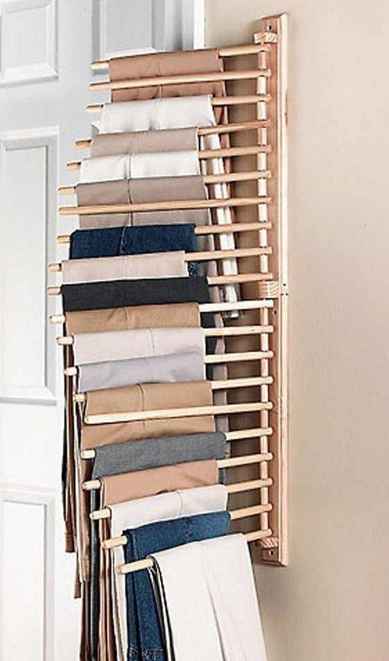 Wooden Wall Mount Pants/Trouser Scalf Belt Or Tie Hanging Rack Closet  Organizer