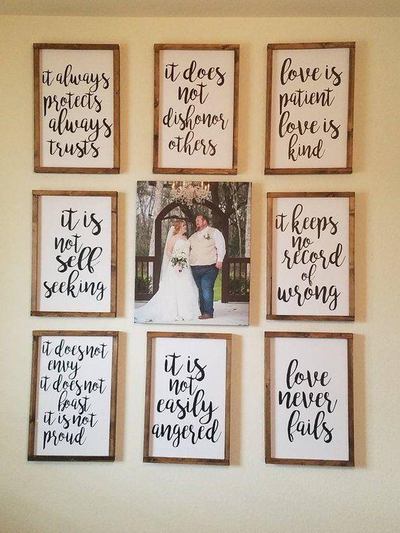 """Satz von 8 Bauernhaus Hochzeit Gang Zeichen 18 """"x 12"""" rustikal aus Holz 1 Korinther 13, Zeremonie Dekor   – Cute wedding Ideas"""
