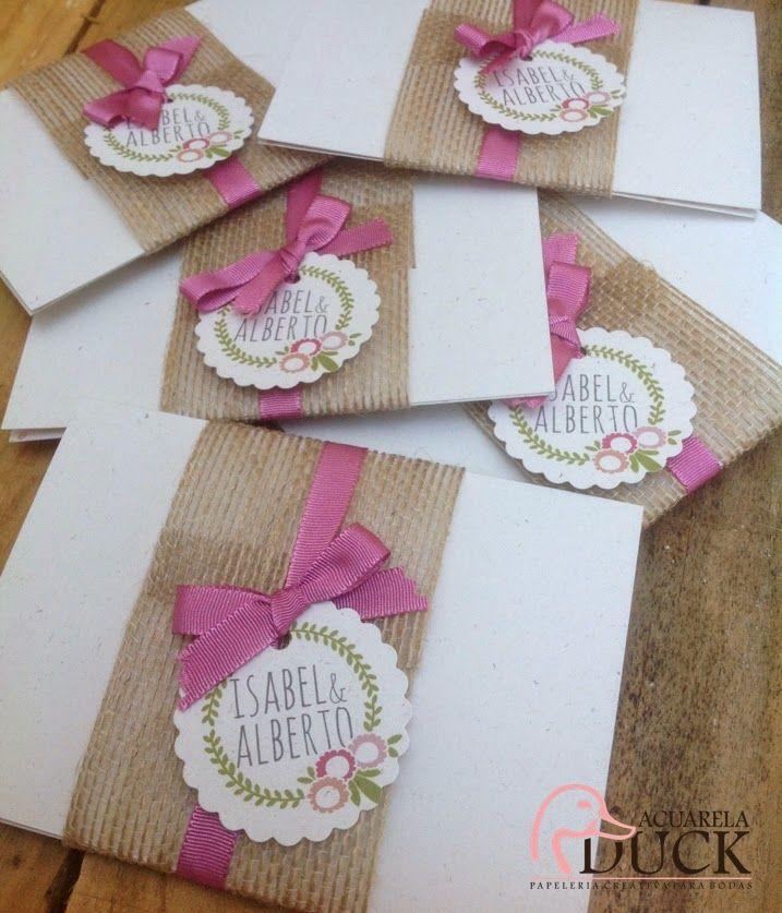 Invitaciones de boda con tela de saco invitaciones de - Manualidades con tela de saco ...