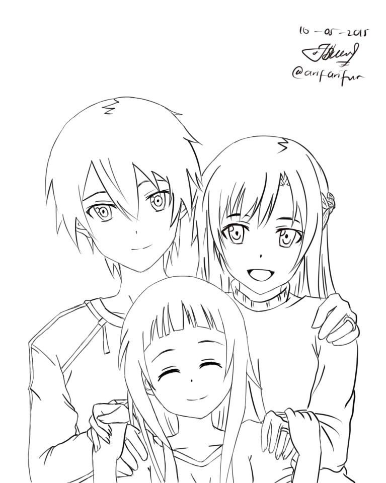 Asuna + Kirito SAO Lineart by BlackRufus94.deviantart.com on ...