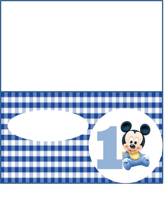 Baby Mickey Mouse 1st Birthday Party Place Name Card