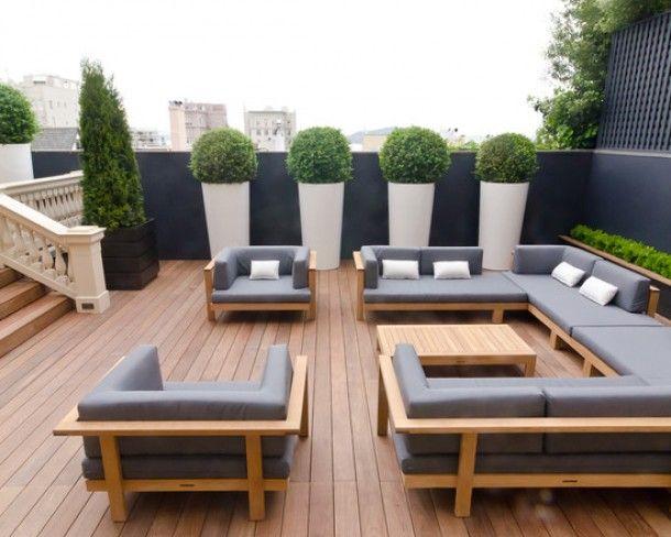 terras, hout, planten witte potten Huis en tuin Pinterest - Terrace Design