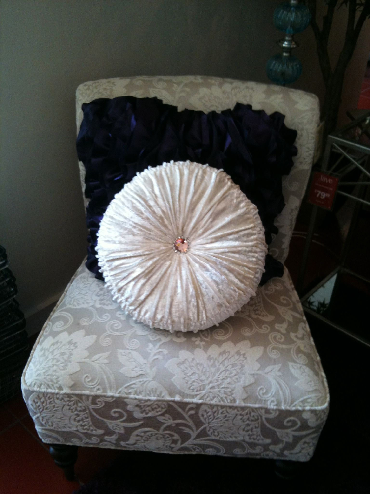 Superb Pier 1 Ivory Leaves Addyson Chair And Round Velvet With Stones Pillow