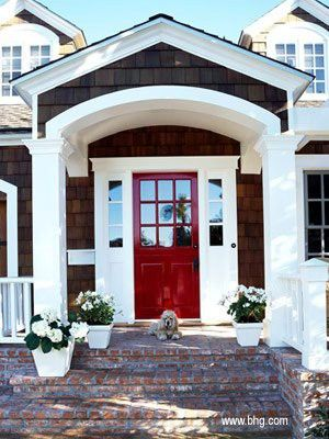 red front door white house. Red Door On Brick House With White Trim Ensuring That There Are Cohesive Accents Throughout The Outside Of Your Is Key For Maintaining Curb Appeal. Front O