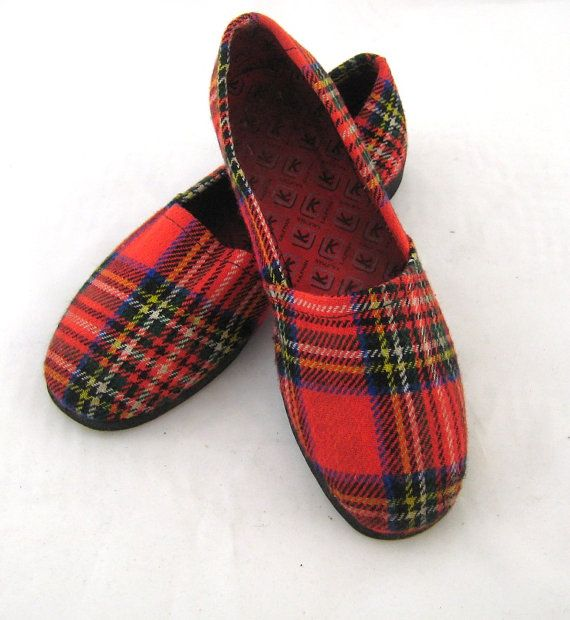 60s Mens Slippers Red Plaid Slippers