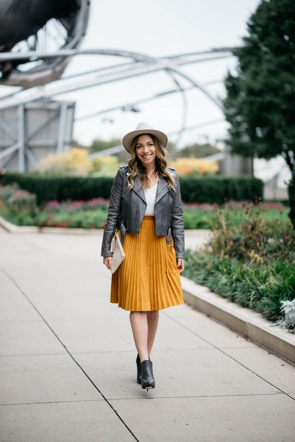abeee10f80 outfit ideas for a yellow-suede-pleated-skirt-and-grey-leather-jacket