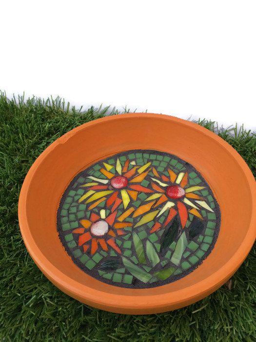 Floral mosaic birdbath Bird bath Upcycled by FlowerFloozyDesigns $34.99
