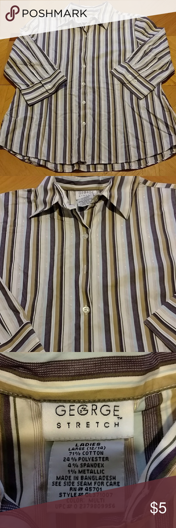 Ladie 3/4 sleeves shirt Ladies George 3/4 sleeve shirt. Size 12/14. Smoke free home. Very pretty colors gold sparkly stripes throughout make it stand out. Excellent condition. George Tops Button Down Shirts