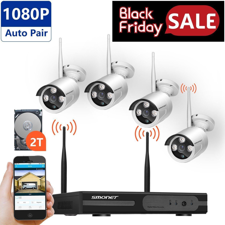 4CH 1080P Wireless NVR Kit CCTV System WIFI IP Security Camera ...