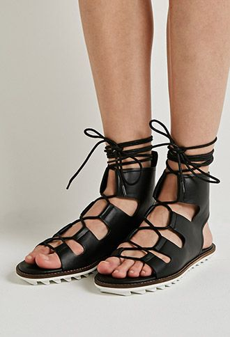 cce926450781 Faux Leather Lace-Up Gladiator Sandals