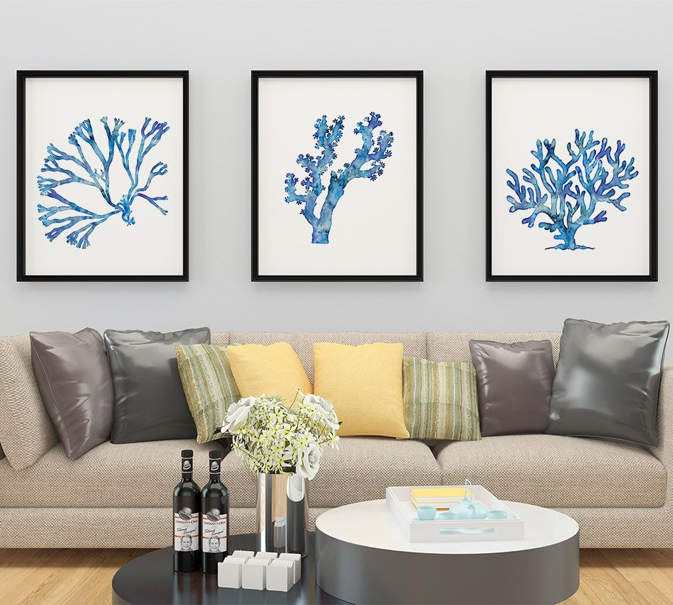 Blue Coral Print Set Of 3 Watercolor Sea Coral Prints Living Etsy Sea Coral Prints Nautical Home Living Room Modern #print #for #living #room