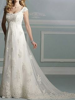 A-line Square Lace Satin Chapel Train Ivory Appliques Wedding Dresses -GBP£165.00 millie bridal