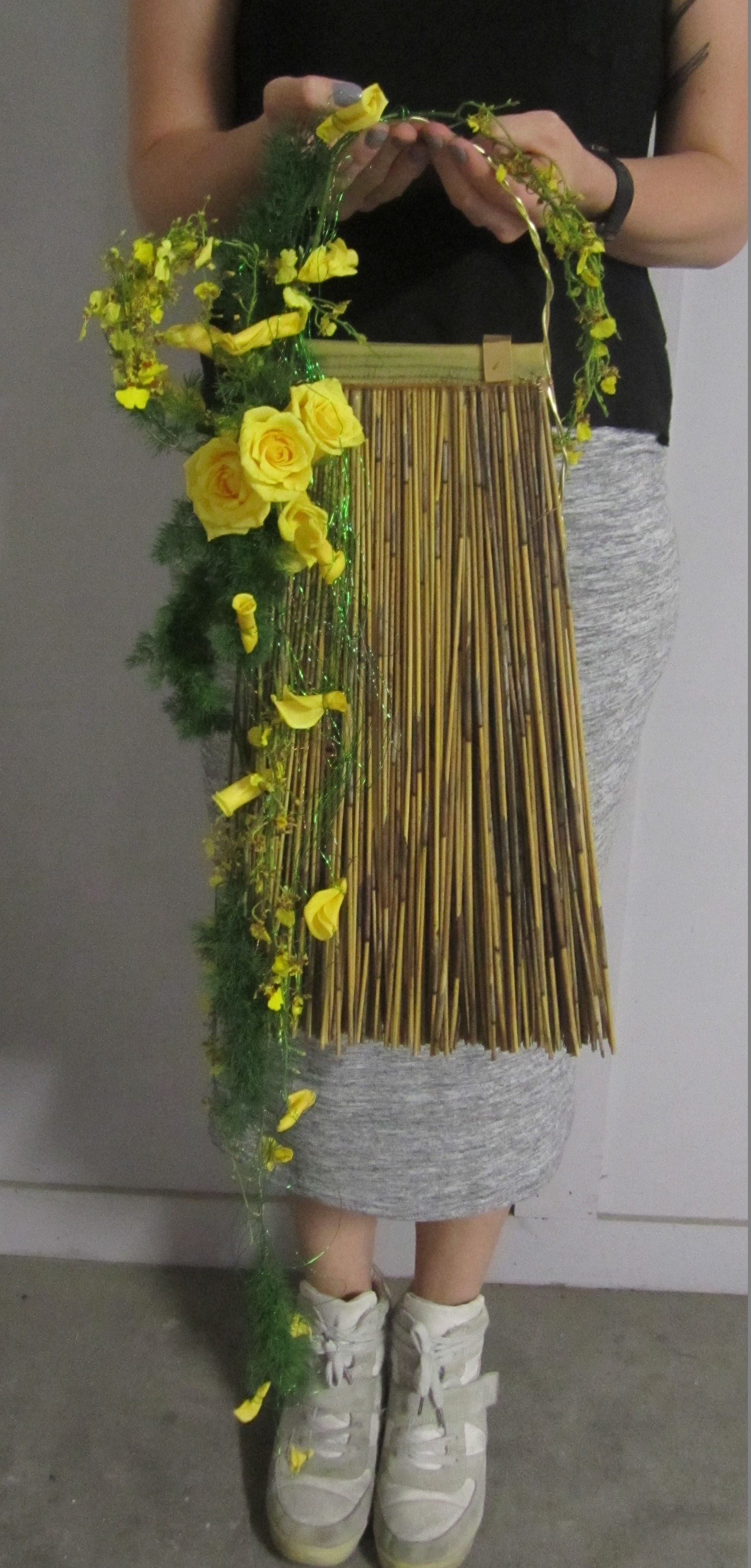 European Style Wedding Bouquet Including Broom Bamboo Roses