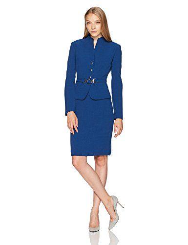730da210c7dfe Tahari by Arthur S. Levine Women's Petite Size Crepe Skirt Suit with Belt