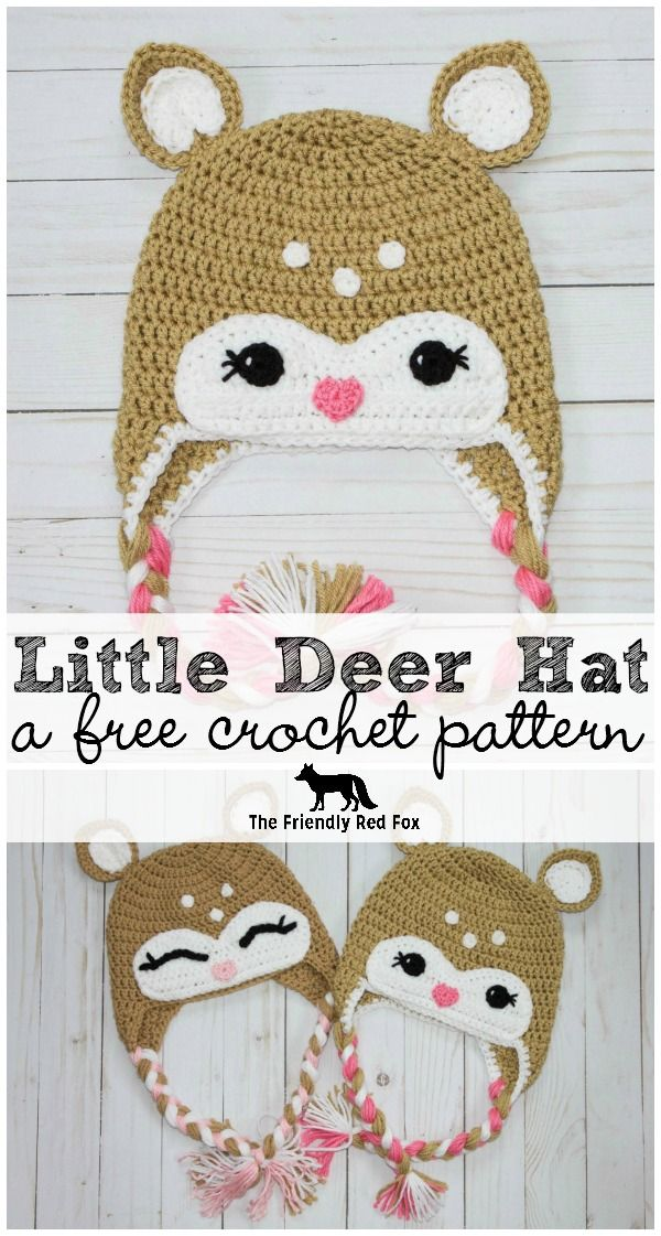Free Crochet Little Deer Hat Pattern | Pinterest | Gorros, Tejido y ...