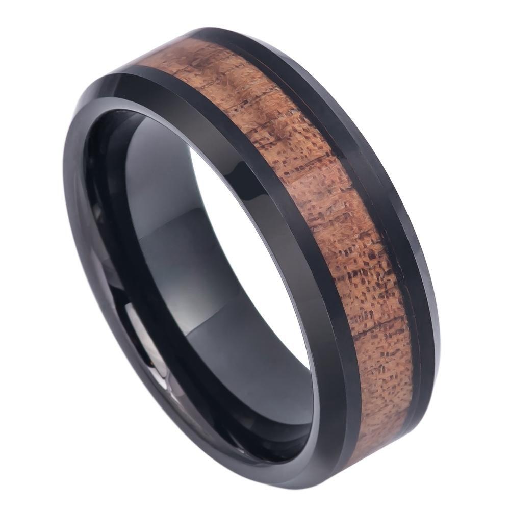 Mm black ip plated tungsten ring with hawaiian koa wood inlay