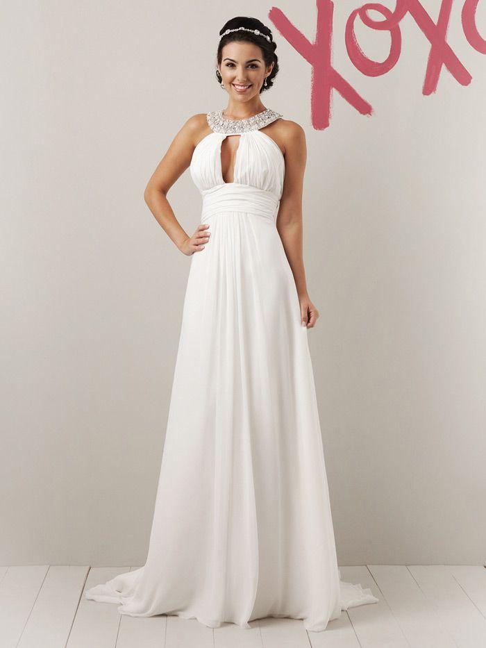 long a line halter wedding dress beaded grecian collar