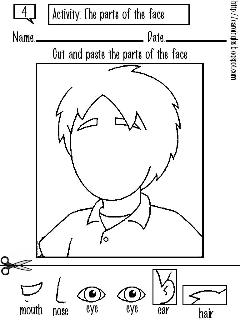 Worksheets Worksheet-parts-of-body face body parts worksheets cool preschool for kids kids