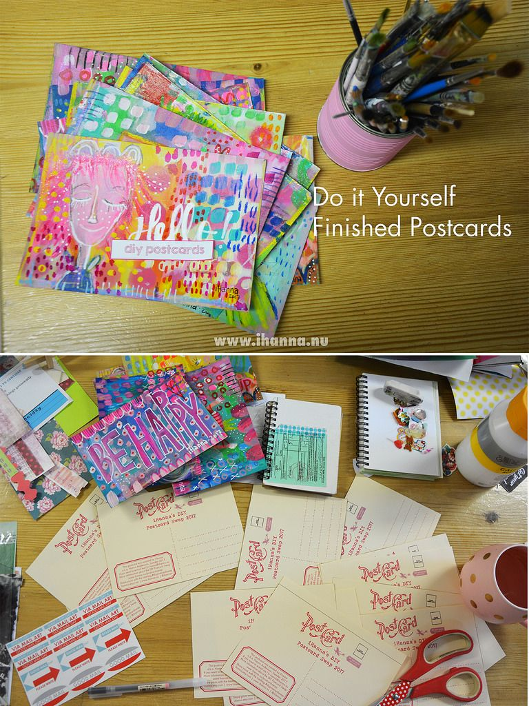 Finished pile of happy girl postcards for the swap (Photo and art by Hanna Andersson a.k.a. iHanna, Sweden) #mailart