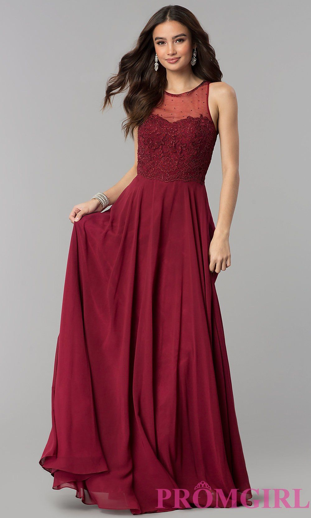 Embroidered Long Tulle Prom Dress with Corset Back