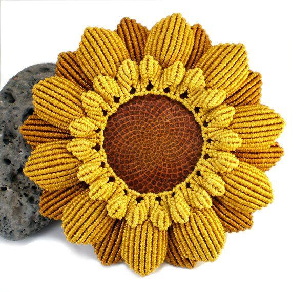 Macrame Sunflower Dish Sunflower Plate Macrame by LanesEndKnots