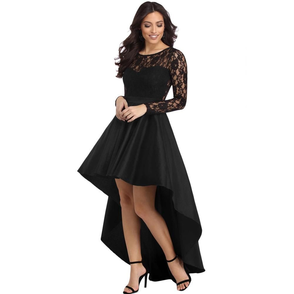 Round Neck Long Sleeve Lace Stitching Back Hollow High Waist Front Short Long Size Female D High Low Party Dresses Womens Prom Dresses Formal Dresses For Women [ 1001 x 1001 Pixel ]