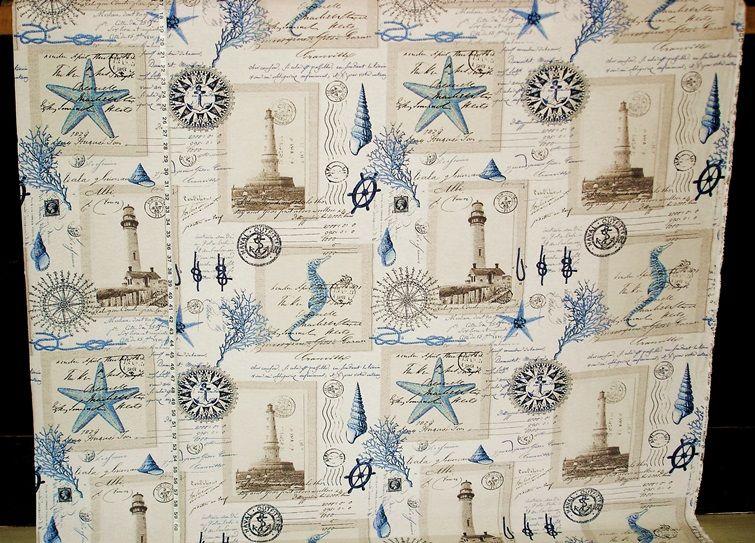 Antique Nautical Bathroom Ideas: Nautical Lighthouse Fabric Vintage Postcard French Writing