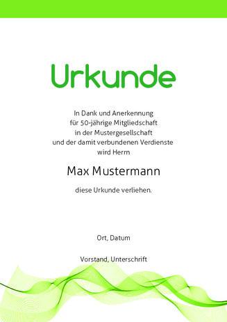 Beispiel: Muster-Urkunde-Welle-Gruen | Urkunden | Pinterest ...