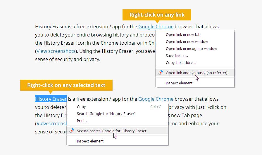 Context Menu Browsing History Eraser History