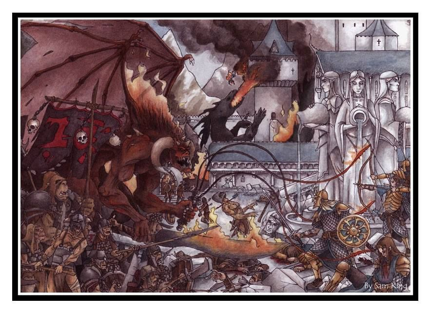 The Fall Of Gondolin By Sam King Lotr Art Middle Earth Art Tolkien