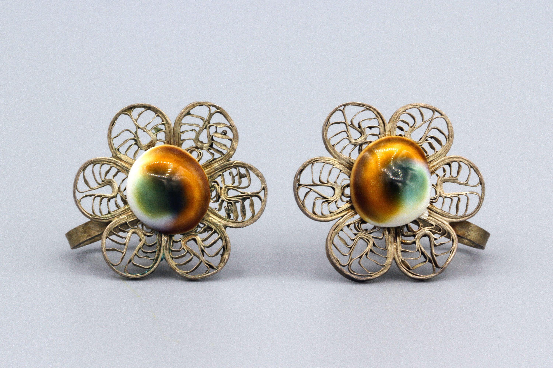 Antique 1920s Victorian Operculum Screw Back Earrings