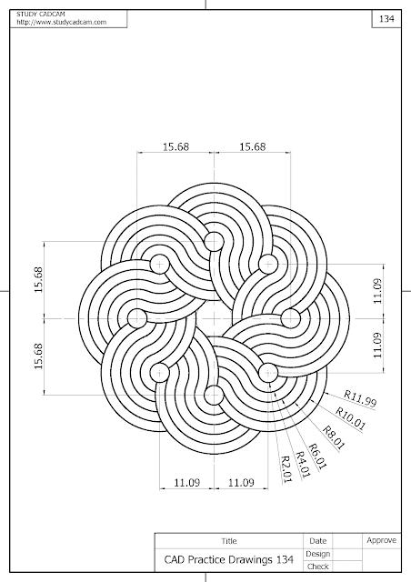 Cad Practice Drawings 134 (图纸练习 134 , 図面練習 134 , CAD