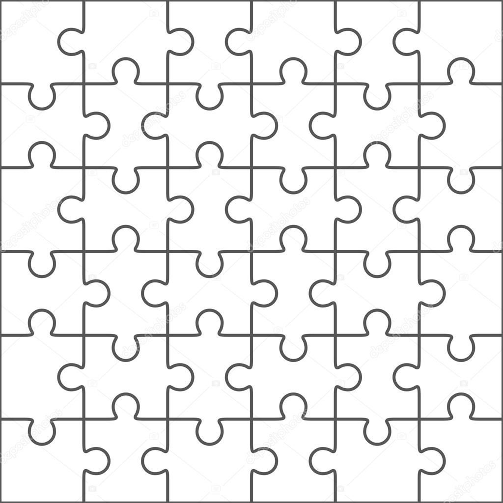 Jigsaw puzzle blank template, 36 pieces — Stock Vector