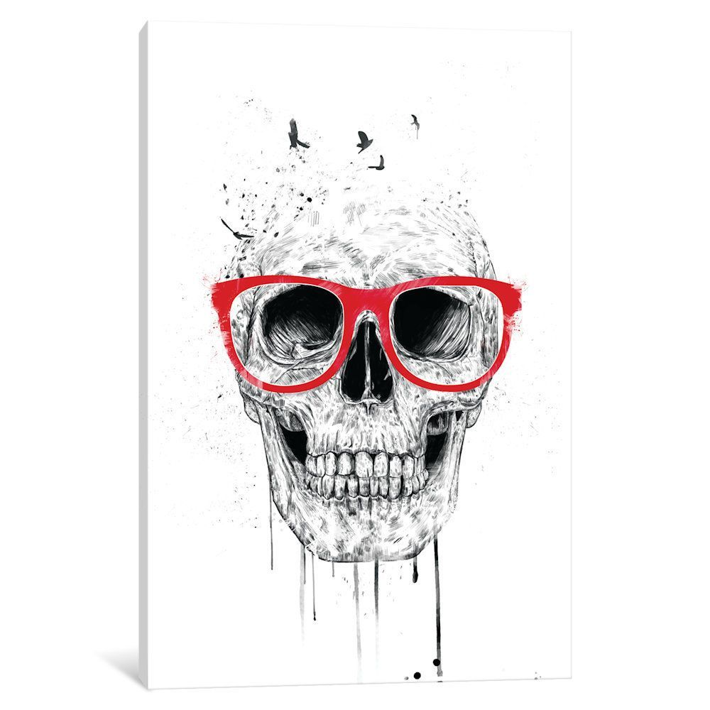 iCanvas 'Skull With Glasses' by Balazs Solti Canvas Print