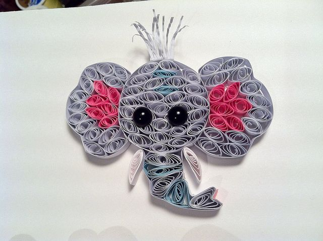 Elephant detail for Paper Quilling Custom order. Zoo theme by Hope's art, via Flickr