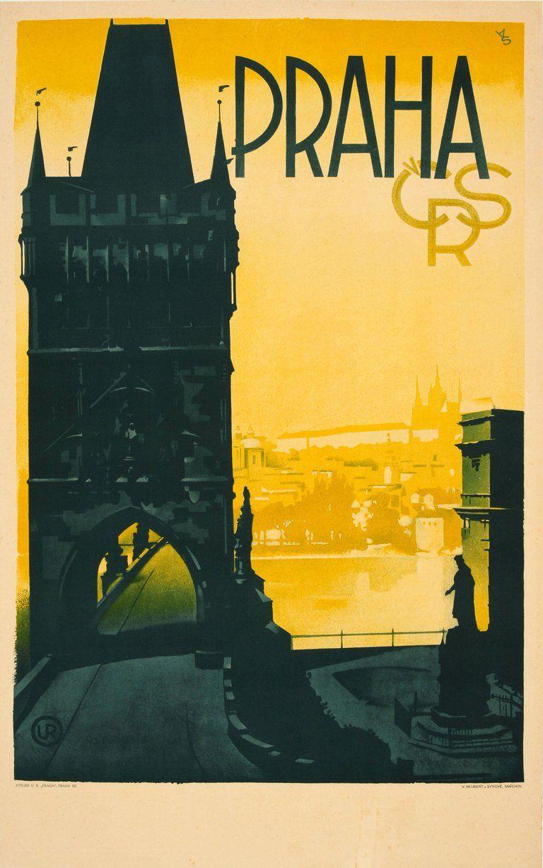 4 sizes, matte+glossy avail Vintage Travel Poster Prague