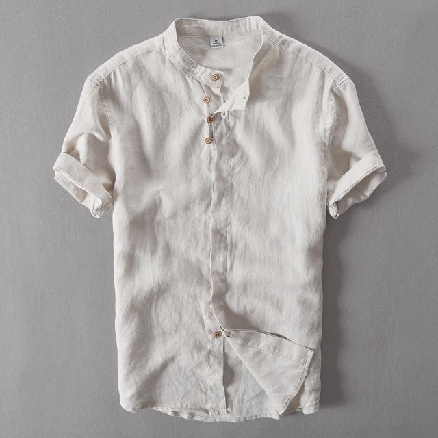 Men S Pure Linen Casual Short Sleeved Shirt Chinese Collar 100 Linen Shirts Men Brand Fashion Mens Linen Shirt Men Men Shirt Style Short Sleeve Linen Shirt
