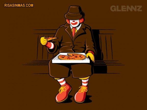 Ronald McDonald se camufla para poder comer pizza de la competencia.  http://bit.ly/LMKZZm